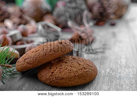 Close up view of tasty cookies on wooden background