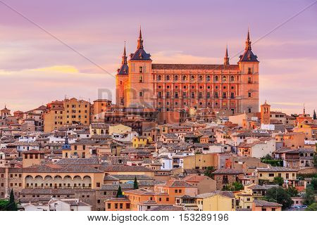 Toledo, Spain. Panoramic view of the old city and its Alcazar(Royal Palace).