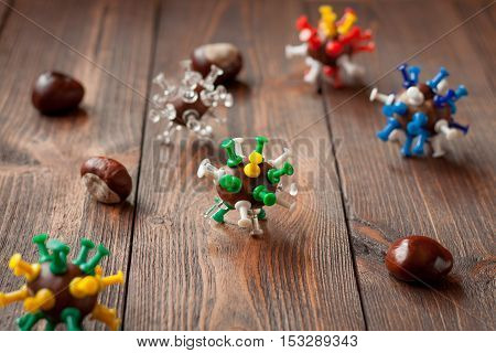 Viruses made with chestnuts and pins as crafts for kids
