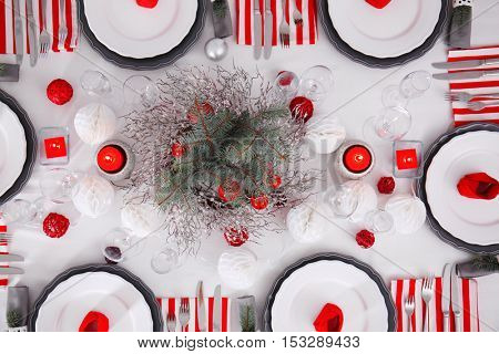 Table served for Christmas dinner, top view
