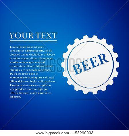 Beer bottle cap flat icon on blue background. Vector Illustration