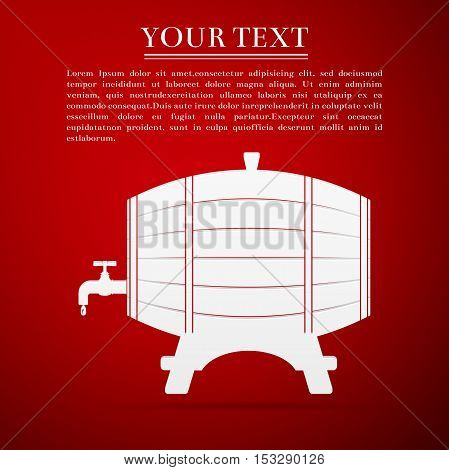 Wooden barrel with tap flat icon on red background. Vector Illustration