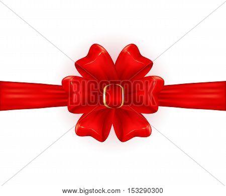 Red shiny bow isolated on white background, holiday decoration, illustration.