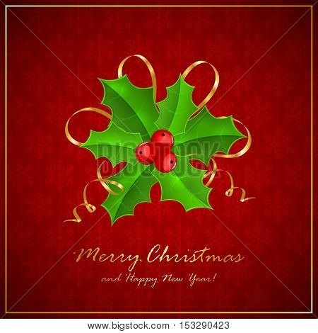 Holly berries on red Christmas background with snowflakes, holiday decoration with inscriptions Merry Christmas and Happy New Year, illustration.