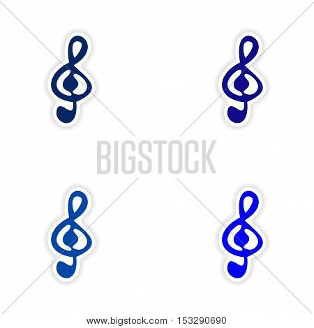 assembly realistic sticker design on paper clef