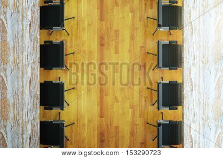 Top view of aged tables and chairs on wooden floor. Mock up 3D Rendering