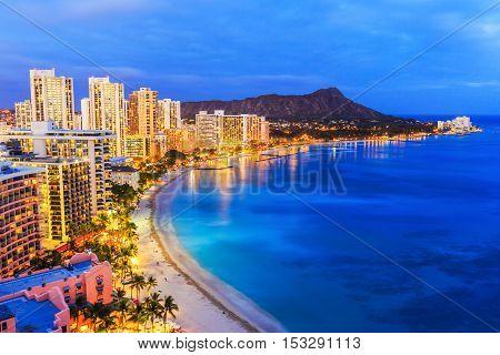 Honolulu, Hawaii. Skyline of Honolulu, Diamond Head and Waikiki Beach