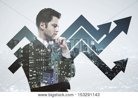 Creative image of thoughtful businessman in suit on creative city background with chart arrows. Success concept. Double exposure