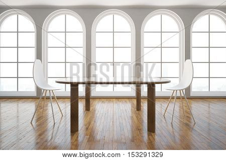 Front view of interior with table modern chairs wooden floor and windows with daylight. 3D Rendering