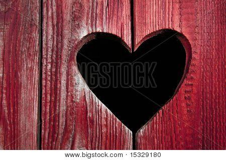 Wooden door close-up, heart shape