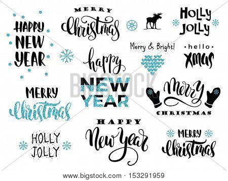 Merry Christmas and Happy New Year. Vector lettering calligraphy design with glitter elements for card poster brochure flyer web and other users