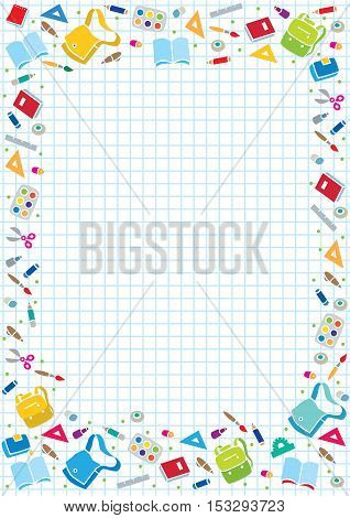 Vector background illustration or design template with education supplies on a background in the box, like in the school notebook