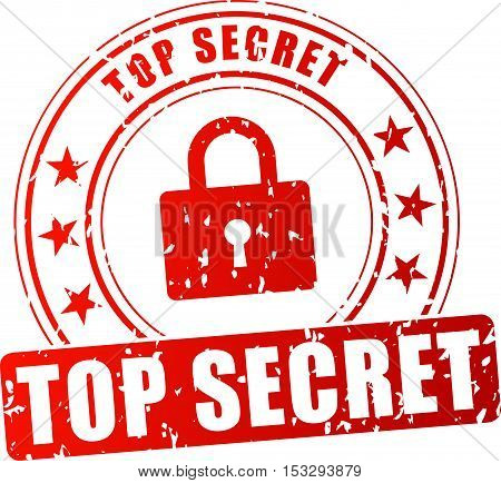 Illustration of top secret red stamp on white background