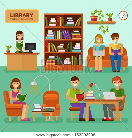 Flat design vector illustration of Library with girls and boys reading book, interior, big bookcase, lamp, bookshelf. Library infographic stock elements. Learning, education concept for website.