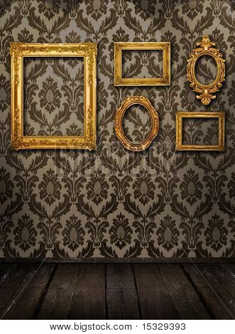 Gold frames, retro wallpaper, spotlights from above, please check for more