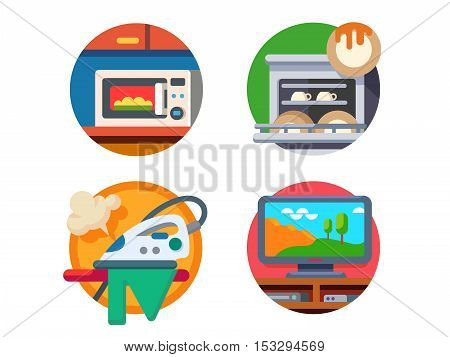 Equipment kitchen and home. Microwave and dishwasher, iron or TV. Vector illustration