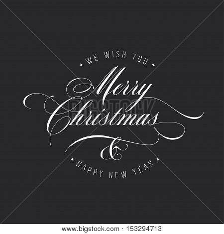 Merry Christmas and Happy New Year lettering template. Monochrome greeting card or invitation. Winter holidays related typographic quote. Vector vintage illustration.