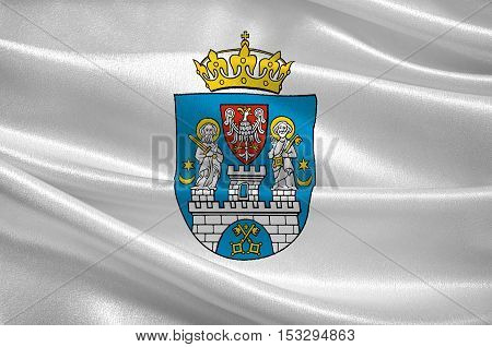 Flag of Poznan is a city in west-central Poland. 3d illustration
