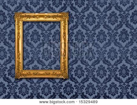 Gold frame, retro wallpaper,please check for more