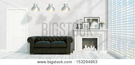 Beautiful modern interior with fireplace. 3D rendering