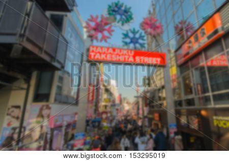 Blurred background.Takeshita Street in Harajuku Japan.Takeshita Street is the famous fashion shopping street next to Harajuku Station
