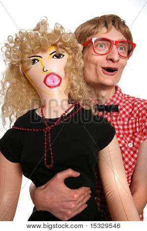 Nerd and his blow-up girlfriend