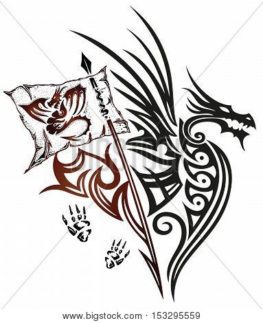 Dragon with wings and flag, fantasy design, Tribal- and Tattoo style.