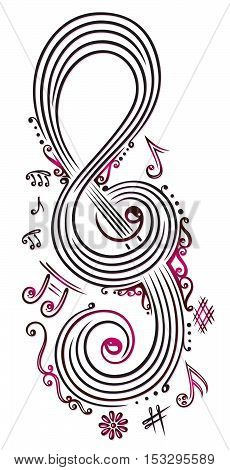 Big clef with music notes and flowers, pink and black