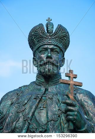 Monument to first and last tsar of Romanov dynasty - Mikhail Fedorovich and Nicholas II in Novospassky monastery in Moscow. Architect Denisov, sculptors Stritovich Golubev. Russia, Moscow. October 6, 2013