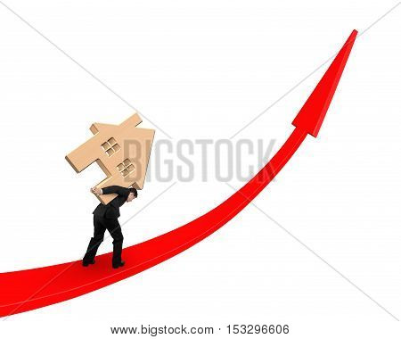 Businessman Carrying Wooden House On Red Arrow Up