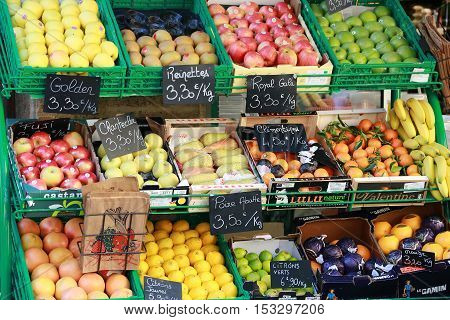 Aix-En-Provence France - October 21 2016: Fruit Stand in Front of the Proxi Store in City Center. Aix-en-Provence in France