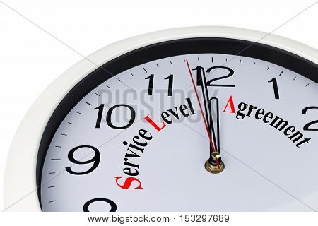 Concept of service level agreement (SLA) in the form of a clock with an inscription on a white background isolated