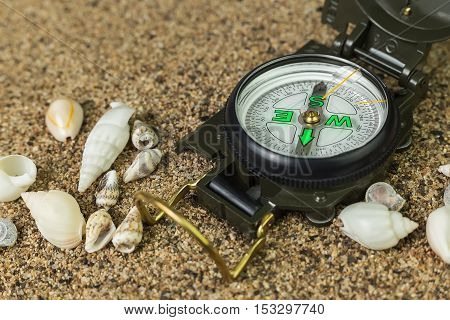 compass on the sand surrounded by sea shells close-up
