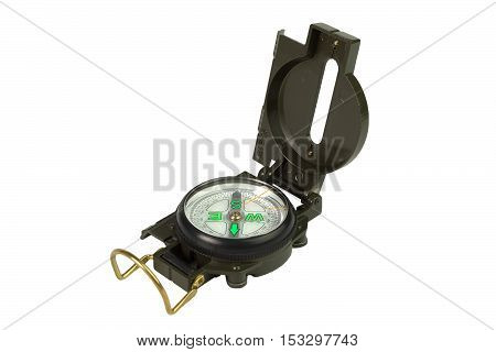 Compass with the lid open on a white background isolated