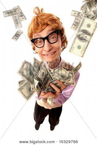 Happy rich nerd