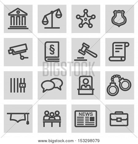 Vector black line justice icons set on grey background