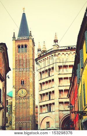 Bell tower of Cathedral and Baptistery in Parma, Italy. Instagram style filtered image