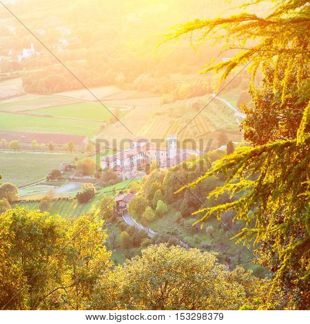 Beautiful landscape in suburb of Bergamo in Lombardy, Italy