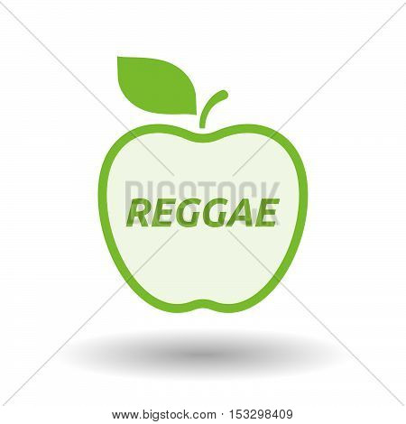 Isolated Line Art Fresh Apple Fruit Icon With    The Text Reggae