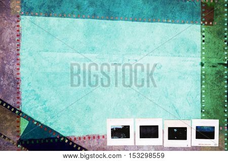 Colorful grunge and vintage textured film strip and photographic slides background