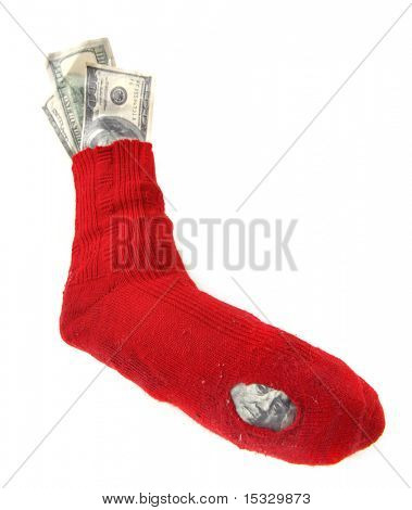 Old sock with money