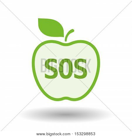 Isolated Line Art Fresh Apple Fruit Icon With    The Text Sos