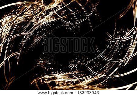 abstract wavy linear network comming out from dark background. Lines with music notes