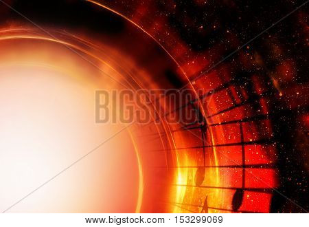 music notes in space with stars. abstract color background. Music concept. Copy space