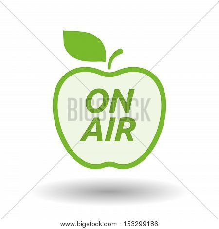 Isolated Line Art Fresh Apple Fruit Icon With    The Text On Air