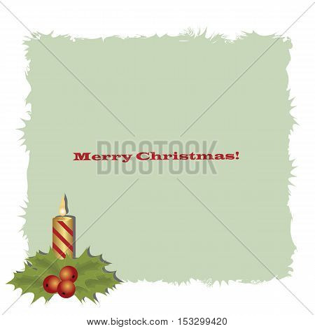 Cute Christmas decorative frame with Christmas candle. Pattern to decorate greeting cards. vector illustration