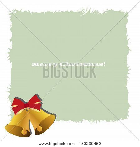 Beautiful Christmas decorative frame with two bells and a red bow. Pattern to decorate greeting cards. vector illustration
