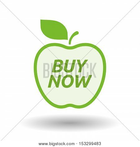 Isolated Line Art Fresh Apple Fruit Icon With    The Text Buy Now