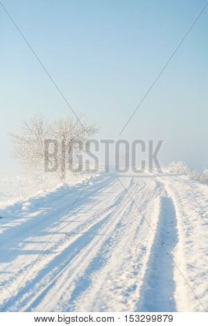 Snowy empty shoveled countryside road on a foggy winter morning at sunrise