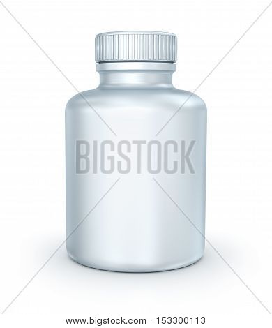 White medical container on white background 3D illustration